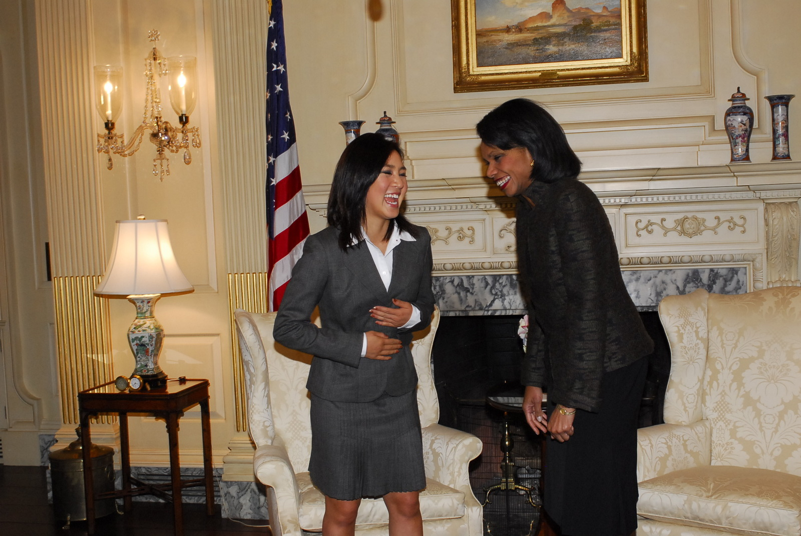 [Assignment: 59-CF-DS-32800-06] Visit of figure-skating star Michelle Kwan to State, where she joined Secretary Condoleezza Rice and Under Secretary for Public Diplomacy and Public Affairs Karen Hughes in the Treaty Room for the announcement of Kwan's appointment as the first American Public Diplomacy Envoy. [In the role, Kwan, a five-time World Champion and two-time Olympic medalist, will reach out to international young people by visiting their schools and clubs to speak about leadership and to engage them in dialogue on social and educational issues.] [Photographer: Ann Thomas--State] [59-CF-DS-32800-06_DSC0260.JPG]