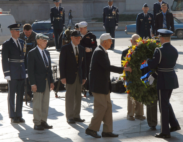 Surviving members of the Doolittle Raiders paid tribute to the U.S. Navy and USS HORNET (CVA 8) during a wreath laying ceremony at the Navy Memorial.  The HORNET was the aircraft carrier from which all the Doolittle flyers flew from during the famous WWII raid. (U.S. Air Force PHOTO by STAFF SGT. Madelyn Waychoff) (Released)