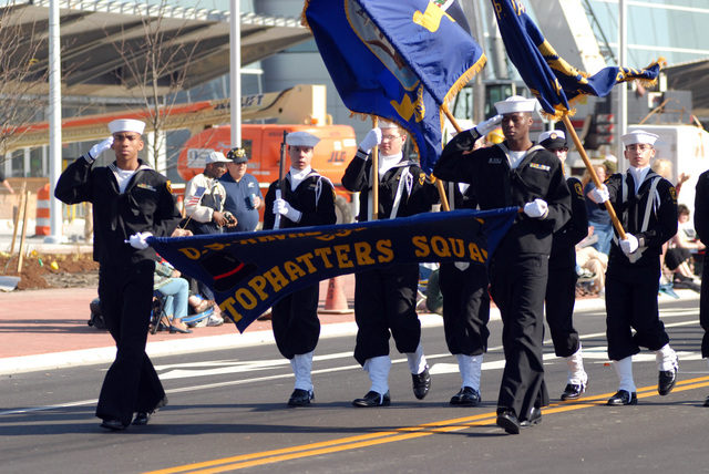 U.S. Navy Sea Cadets from the Tophatters Squadron march in the annual Veteran's Day Parade at the oceanfront in Virginia Beach, Va., on Nov. 11, 2006. The Hampton Roads Council of Veterans Organization hosted the parade, honoring the sacrifices of U.S. veterans of the past and present. (U.S. Navy PHOTO by Mass Communication SPECIALIST 3rd Class Chad A. Hallford) (Released)