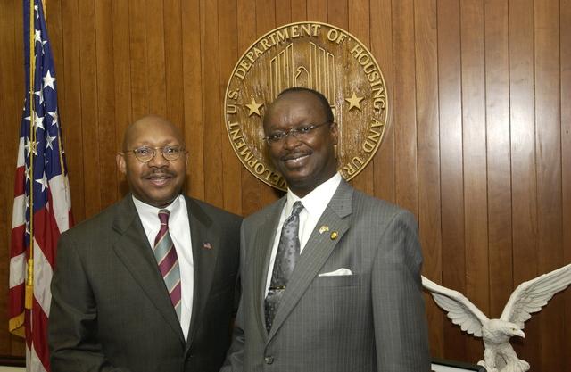Secretary Alphonso Jackson with Ghana Ambassador Kwame Bawuah-Edusei - Secretary Alphonso Jackson meeting with Ghana's Ambassador to the U.S.,  Dr. Kwame Bawuah-Edusei, at HUD Headquarters