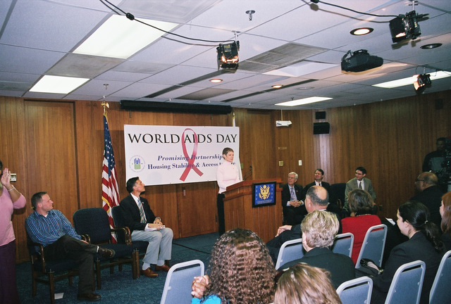 """World AIDS Day Program - World AIDS Day presentation (""""Promising Partnerships: Housing Stability and Access to Care"""") at HUD Headquarters, [with Deputy Secretary Roy Bernardi presiding]"""