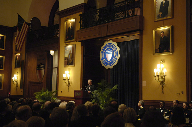 The Honorable Donald H. Rumsfeld (at podium), U.S. Secretary of Defense, addresses the attendees during the Union League of Pennsylvania Gold Medal Award Presentation in Philadelphia, Penn., Dec. 1, 2006.  (DoD photo by Cherie A. Thurlby) (Released)