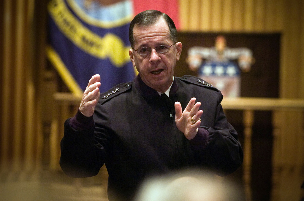 U.S. Navy Adm. Mike Mullen CHIEF of Naval Operations (CNO) gives a lecture at the U.S. Army War College.  Adm. Mullen spoke on a variety of subjects on Dec. 11, 2006, at Carlisle, Pa., including the future of the wars in Iraq and Afghanistan, the future of the U.S. Navy and the 1,000-ship Navy.  (U.S. Navy PHOTO by Mass Communication SPECIALIST 1ST Class (AW) Chad J. McNeeley) (Released)