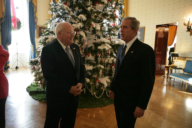 President Bush and Vice President Cheney in the White House Blue Room