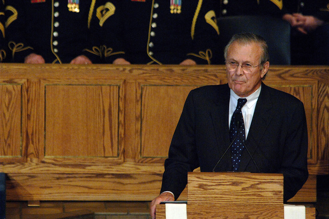 Former U.S. Secretary of Defense Donald H. Rumsfeld delivers a eulogy during the funeral service for former President Gerald R. Ford, 38th President of the United States, at the Grace Episcopal Church in Grand Rapids, Mich., on Jan. 3, 2007. (DoD photo by TECH. SGT. Jeremy T. Lock) (Released)