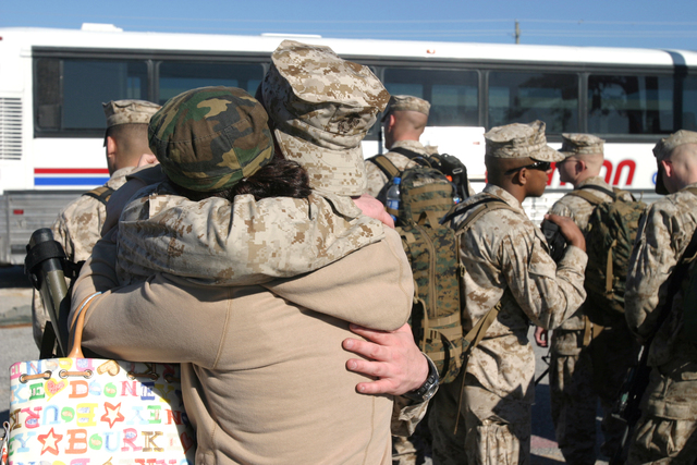 A U.S. Marine with Headquarters Company, Regimental Combat Team 6, I Marine Expeditionary Force hugs a loved one on Camp Lejeune, N.C., Jan. 6, 2007, before deploying to Iraq. (U.S. Marine Corps photo by CPL. Samuel D. Corum) (Released)