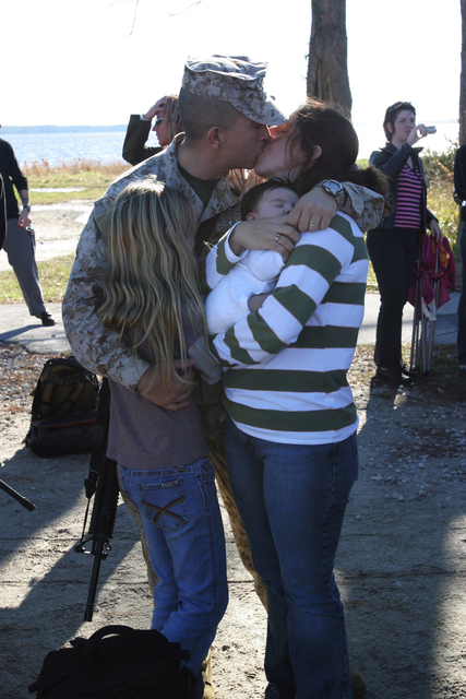A U.S. Marine with Headquarters Company, Regimental Combat Team 6, I Marine Expeditionary Force say goodbye to a loved on on Camp Lejeune, N.C., Jan. 6, 2007, before deploying to Iraq. (U.S. Marine Corps photo by CPL. Samuel D. Corum) (Released)