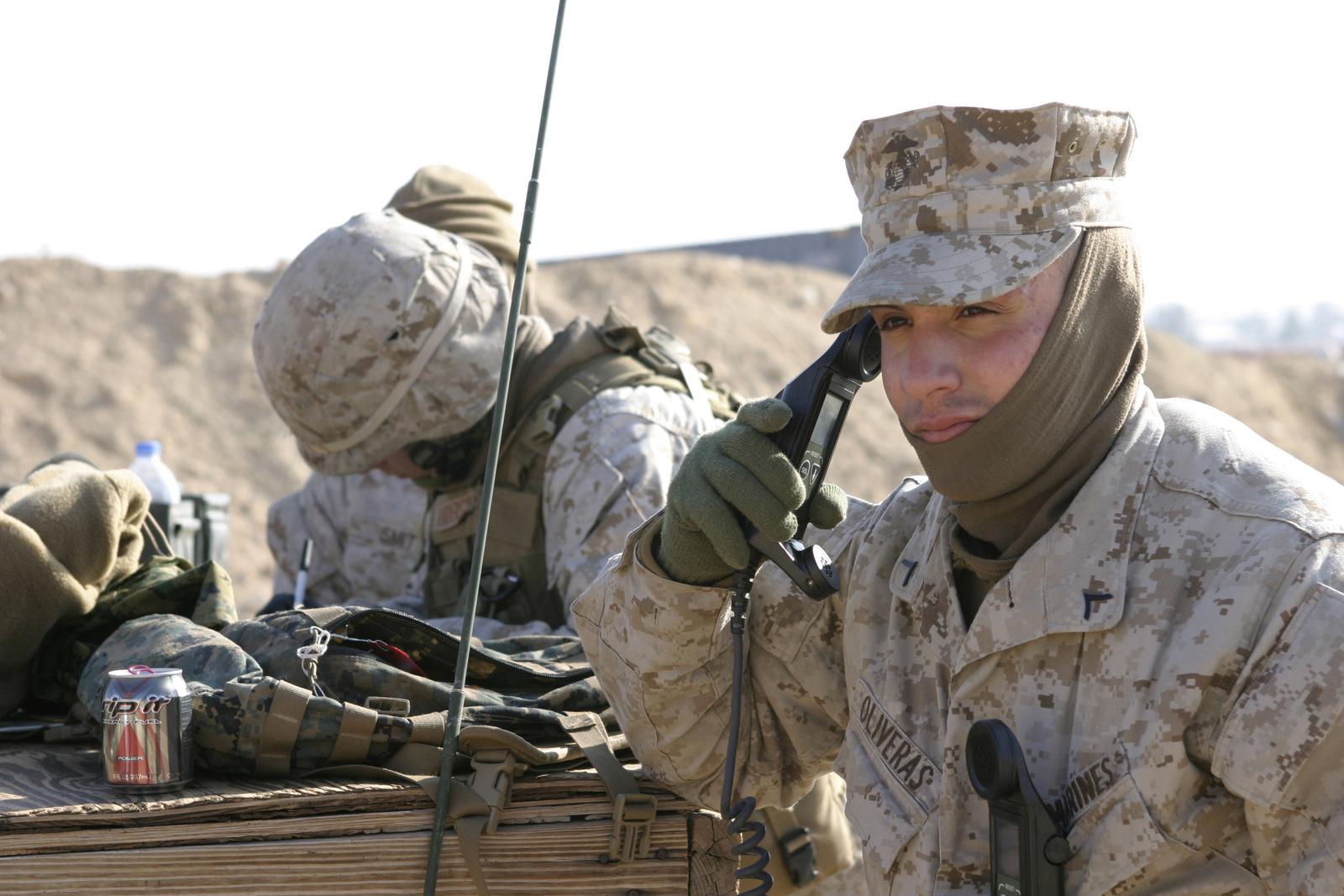 U S  Marine Corps PFC  Scott W  Oliveras, a field radio