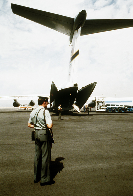 A rear view of a C-141 Starlifter aircraft from the Military Airlift Command, 438th Military Airlift Wing, that has been assigned to evacuate a group of survivors of the DC-10 passenger aircraft crash to McGuire Air Force Base, New Jersey