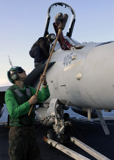 A U.S. Navy Sailor aboard the Nimitz-class aircraft carrier USS DWIGHT D. EISENHOWER (CVN 69), uses an anti-static glove on a F/A-18C Super Hornet to prevent the build-up of static electricity on aircraft parts in the Arabian Sea on Jan. 18, 2007.   The EISENHOWER and embarked Carrier Air Wing (CVW) 7 are on a regularly scheduled deployment in support of maritime security operations.  (U.S. Navy PHOTO by Mass Communication SPECIALIST SEAMAN Clarence McCloud) (Released)
