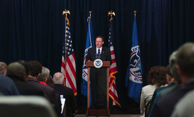 Washington, DC, January 22, 2007 -- R. David Paulison talks about the reorganization of FEMA at the podium during an all hands meeting at FEMA headquarters. Mr. Paulison takes the new title of Adminstrator of FEMA.  FEMA will consist (on March 31, 2007) of The United States Fire Administration (USFA), The Office of Grants and Training (G&T), The Chemical Stockpile Emergency Preparedness Division (CSEP), The Radiological Emergency Preparedness Program (REPP) and the Office of National Capital Region Coordination (NCRC) as mandated by the Post-Katrina Emergency Management Act.  FEMA/Bill Koplitz