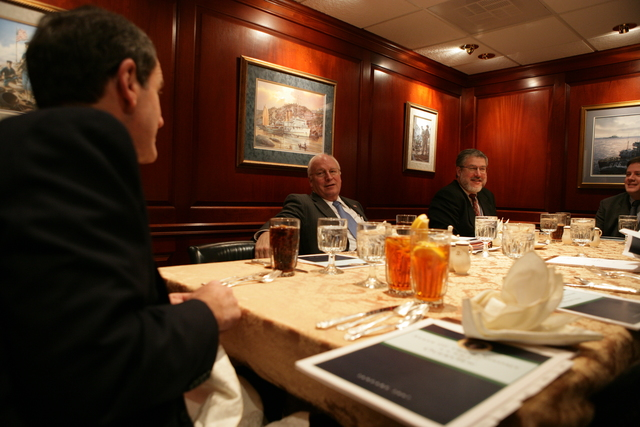 Vice President Cheney Meets with David Addington, Karl Rove and Allan Hubbard at Economic Principals Lunch Held in the Ward Room of the White House Mess