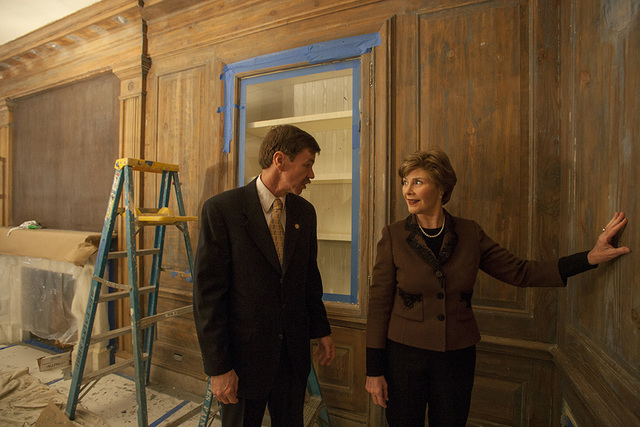 Mrs. Laura W. Bush, with Usher Dennis Freemyer, Reviews the Restoration of the Vermeil Room