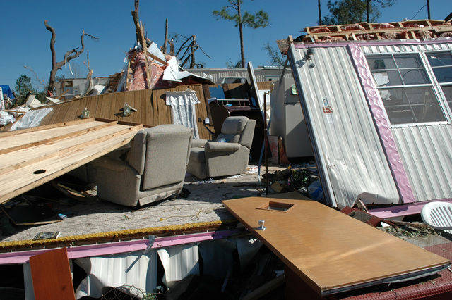 [Severe Storms and Tornadoes] Lady Lake, Fla., February 6, 2007 -- The recent tornadoes in central Florida destroyed this manufactured home.  Tornadoes are a very powerful and destructive force. Mark Wolfe/FEMA
