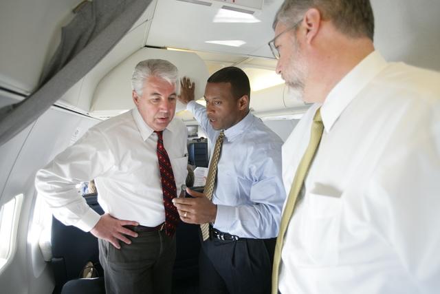 David Addington Talks with Pat Caldwell Aboard Air Force Two