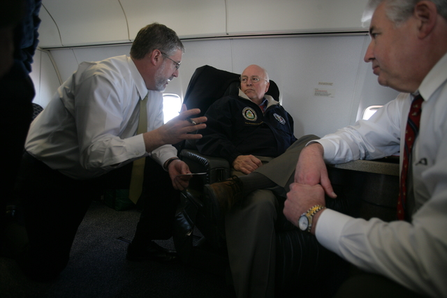 Vice President Cheney Talks with David Addington and Pat Caldwell Aboard Air Force Two