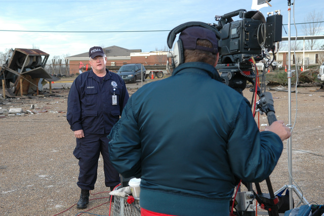 [Severe Storms and Tornadoes] Enterprise, AL, March 3, 2007 -- FEMA Federal Incident Response Support Team (FIRST) leader Ned Wright speaks on camera to the NBC Today show this morning. The FIRST team was FEMA's initial response to the Alabama tornadoes.  Mark Wolfe/FEMA