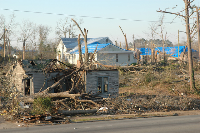 [Severe Storms and Tornadoes] Americus, GA, March 8, 2007 -- FEMA blue tarps cover roofs damaged by the Georgia tornadoes.  The blue roofs are only a temporary measure to keep interiors dry until the roof can be repaired.  Mark Wolfe/FEMA