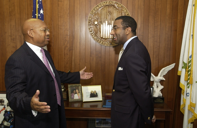 Secretary Alphonso Jackson with Eric Motley - Secretary Alphonso Jackson meeting at HUD Headquarters with Dr. Eric Motley, [Vice President and Managing Director of the Henry Crown Fellows Program at Washington, D.C.'s Aspen Institute]