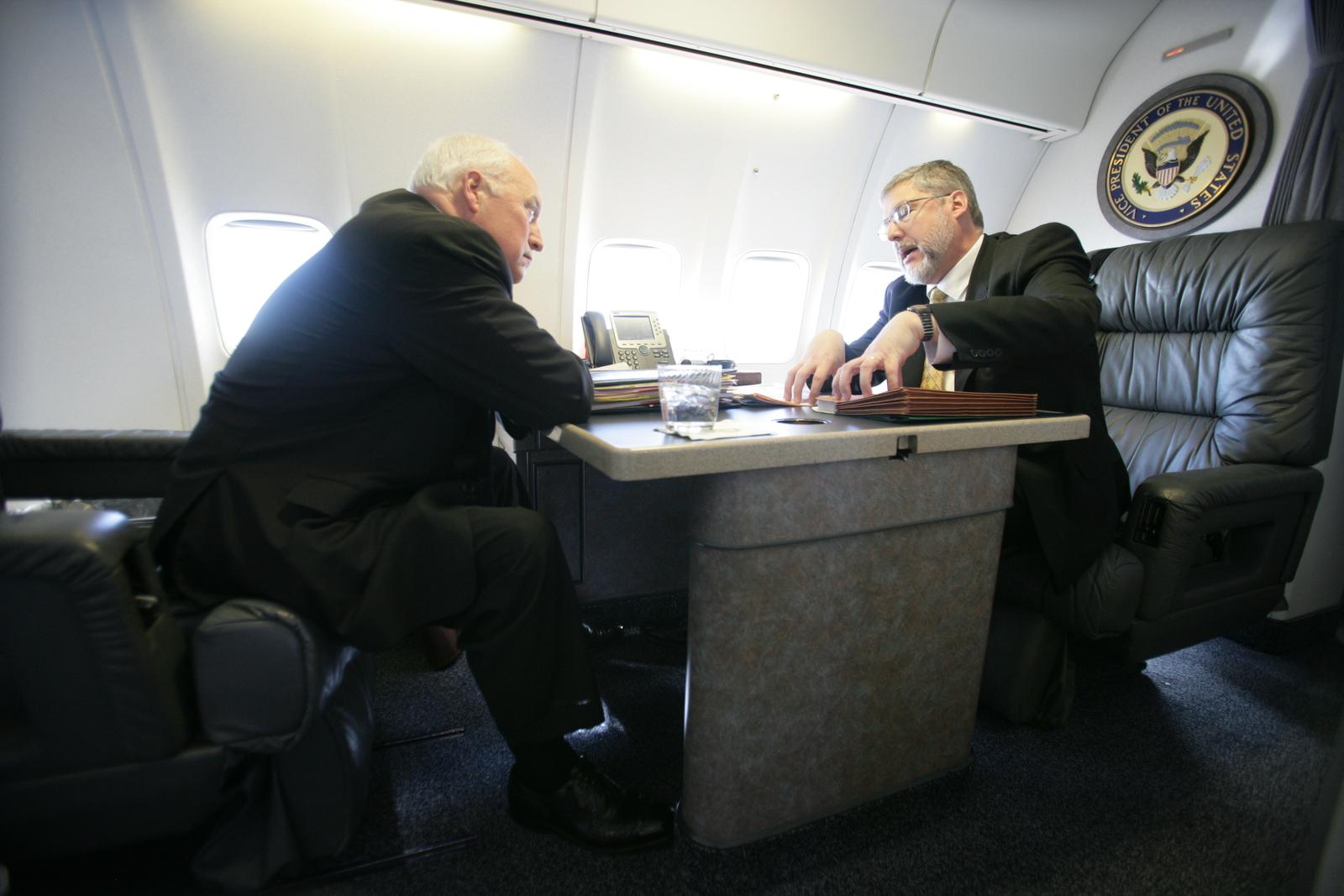 Vice President Cheney Talks to David Addington Aboard Air Force Two En Route to Birmingham, Alabama