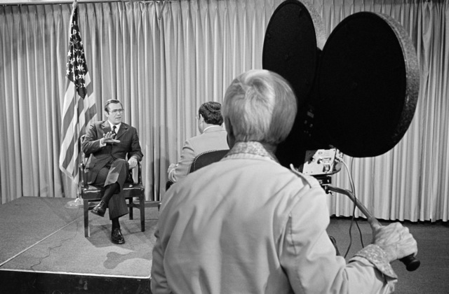 The Honorable Donald H. Rumsfeld (left), US Secretary of Defense (SECDEF), is interviewed by Mr. Frank Tomlinson, ABC-TV, at the Pentagon Studio, Washington, D.C., Oct. 5, 1976. OSD Package # D-1998-OSD-76-100009 (PHOTO by Hall) (Released)