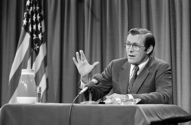 """U.S. Secretary Defense (SECDEF) The Honorable Donald H. Rumsfeld, responds to questions during a panel interview conducted by members of the CBS Television and Radio News program""""Capital Cloakroom""""at the Pentagon Studio in Washington, D.C. on Oct. 6, 1976. OSD Package D-1998-OSD-76-100010 (PHOTO by Robert D. Ward) (Released)"""