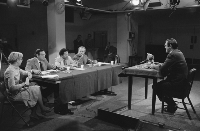 """U.S. Secretary Defense (SECDEF) The Honorable Donald H. Rumsfeld (right), is interviewed by a panel from the CBS Television and Radio News program""""Capital Cloakroom""""at the Pentagon Studio in Washington, D.C. on Oct. 6, 1976. OSD Package D-1998-OSD-76-100010 (PHOTO by Robert D. Ward) (Released)"""