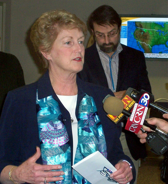 Hartford, CT, April 19, 2007 -- Governor M. Jodi Rell addresses the media at the Connecticut Preliminary Damage Assessment Kick-off meeting.  FEMA/Debra Young