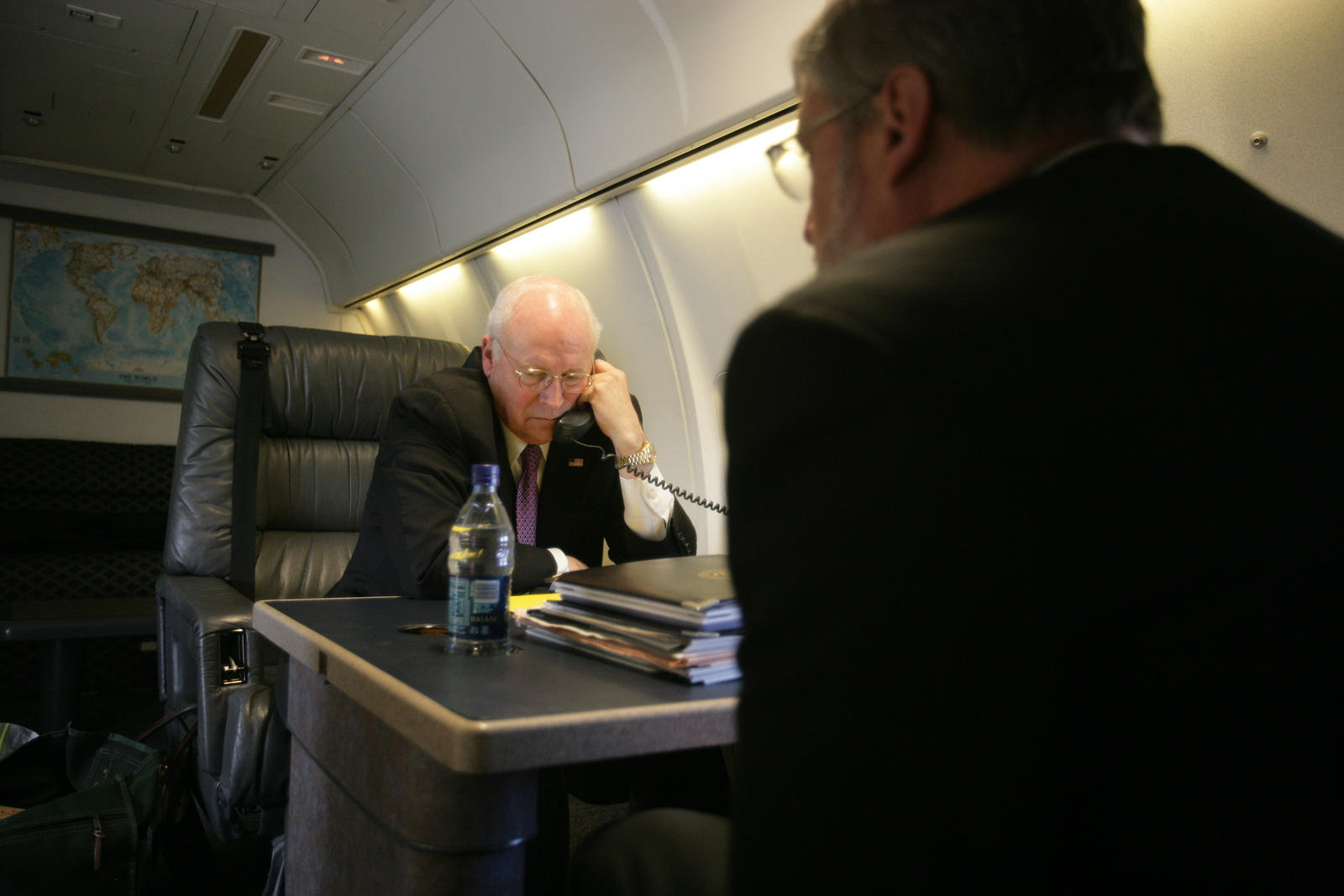 David Addington Watches Vice President Cheney Talk on Phone Aboard Air Force Two
