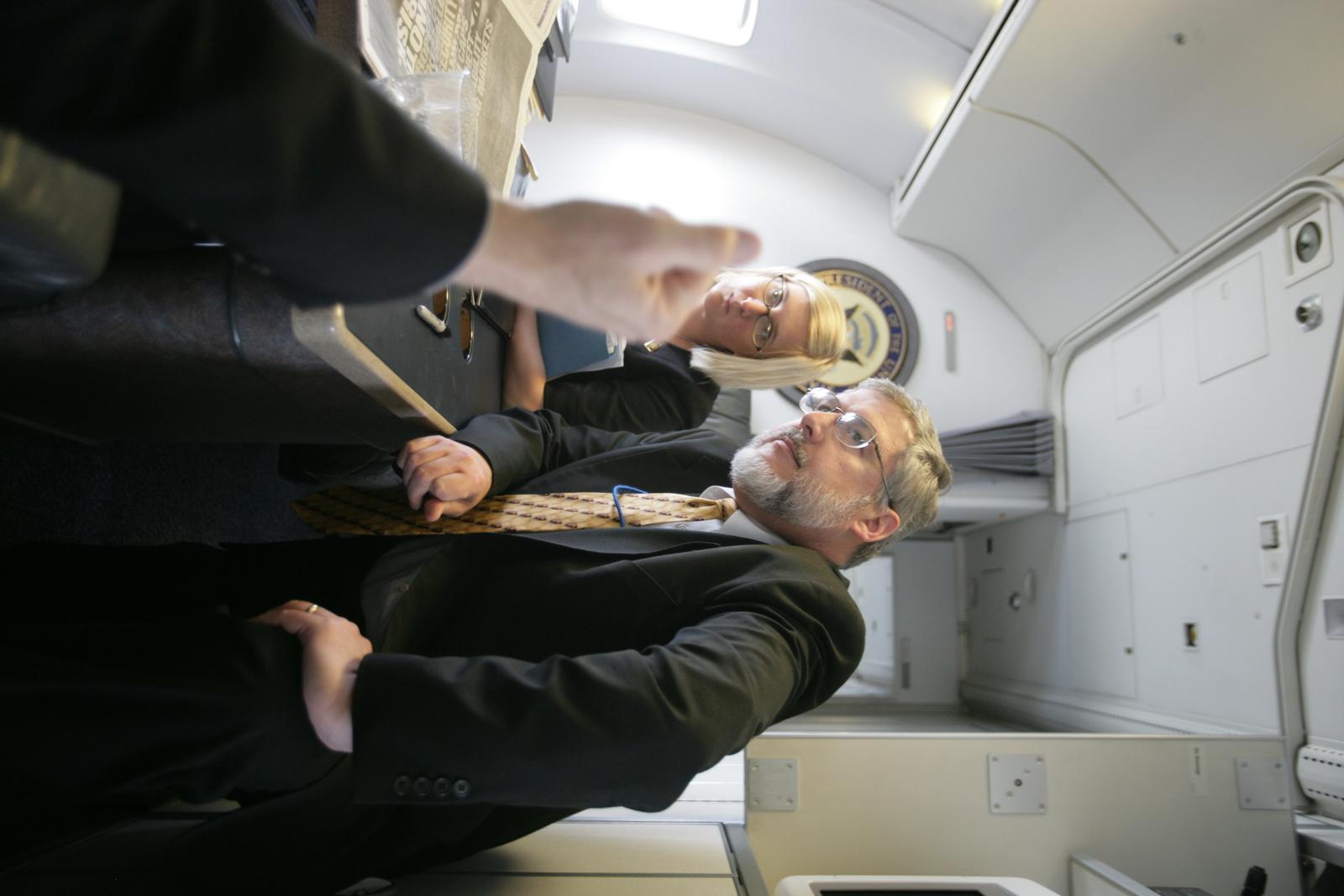 Vice President Cheney Talks With David Addington and Megan McGinn Aboard Air Force Two En Route to Salt Lake City, Utah