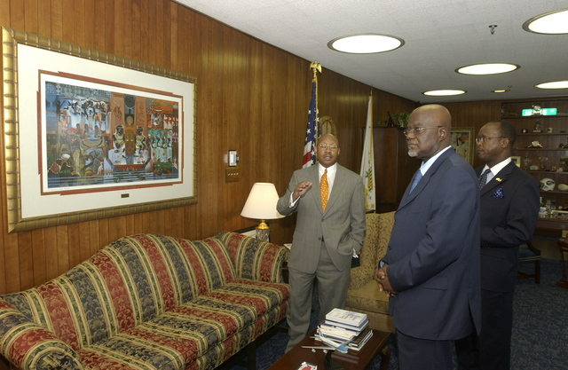 Secretary Alphonso Jackson with Ghana Ambassador Kwame Bawuah-Edusei - Secretary Alphonso Jackson meeting with Ghana's Ambassador to the U.S., Kwame Bawuah-Edusei, and Ghana's Minister for Water Resources, Works, and Housing, Hackman Owusu-Agyeman, at HUD Headquarters