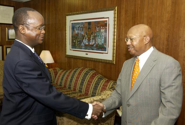 Secretary Alphonso Jackson with Ghana Ambassador Kwame Bawuah-Edusei - Secretary Alphonso Jackson meeting with Ghana's Ambassador to the U.S., Kwame Bawuah-Edusei, at HUD Headquarters