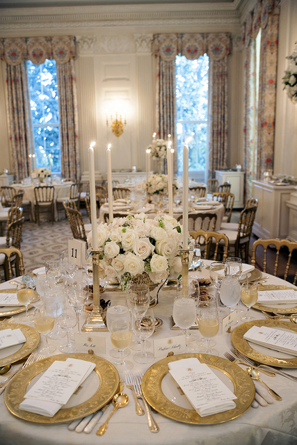 A Table Setting for the State Dinner in Honor of Her Majesty Queen Elizabeth II of Great Britain