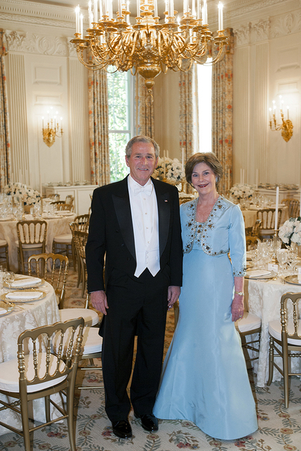 Portrait of President George W. Bush and Mrs. Laura Bush in the State Dining Room