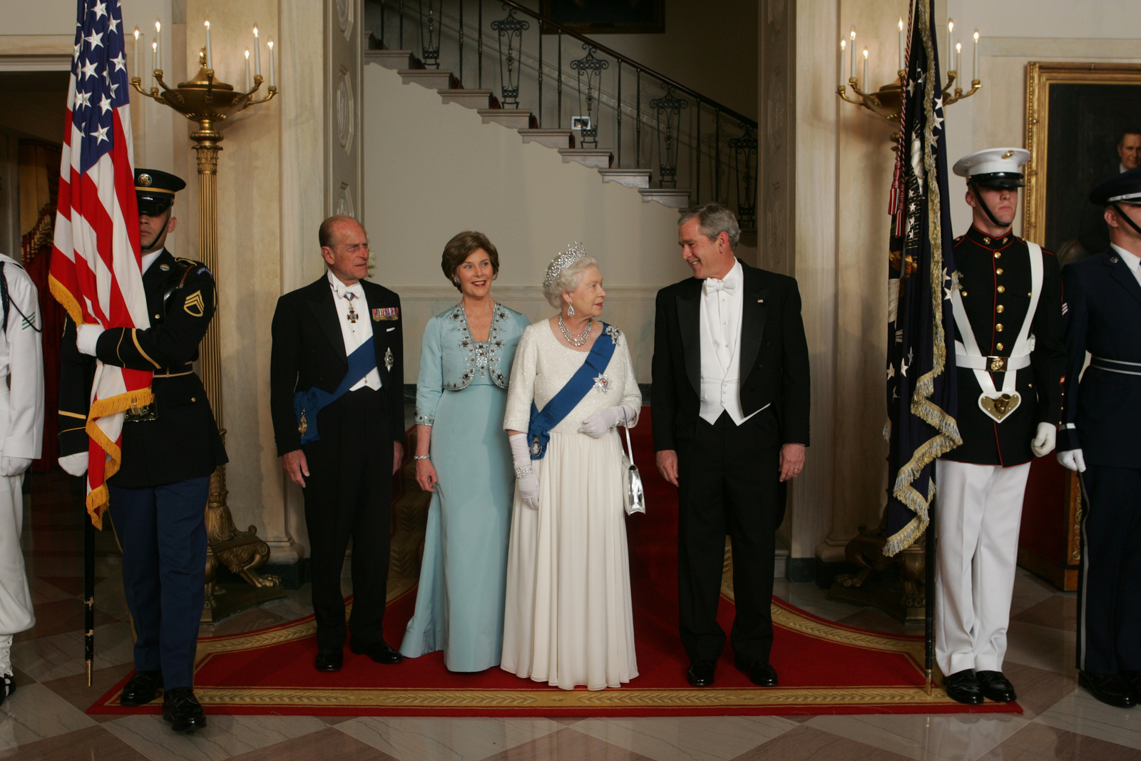 President George W Bush And Mrs Laura Bush Escort Her Majesty