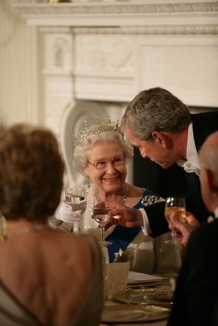 President George W. Bush Toasts Her Majesty Queen Elizabeth II of Great Britain following Welcoming Remarks