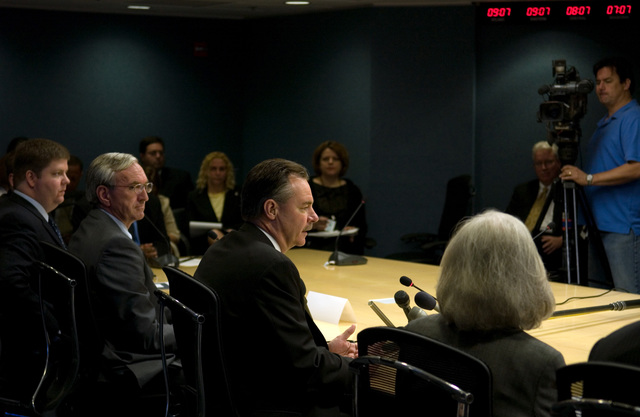 Washington, DC, May 15, 2007 -- FEMA and partner agencies discuss disaster assistance for individuals for the 2007 hurricane season during a news conference at FEMA headquarters.  FEMA Administrator R. David Paulison, center.  FEMA/Bill Koplitz