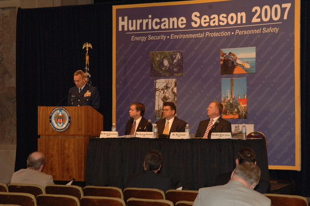 [Assignment: 48-DPA-K_MMS_Hurricane] Minerals Management Service (MMS)-sponsored briefing, [at Main Interior, on energy resource protection preparations for the] 2007 hurricane season, [with presentations by MMS Deputy Director Walter Cruickshank, Department of Energy's Director of Energy Assurance Alex de Alvarez, American Petroleum Institute President and Chief Executive Officer Red Cavaney, and Coast Guard Rear Admiral Wayne Justice, Assistant Commandant for Capability and Director of Response Policy at Coast Guard Headquarters] [48-DPA-K_MMS_Hurricane_DOI_4206.JPG]