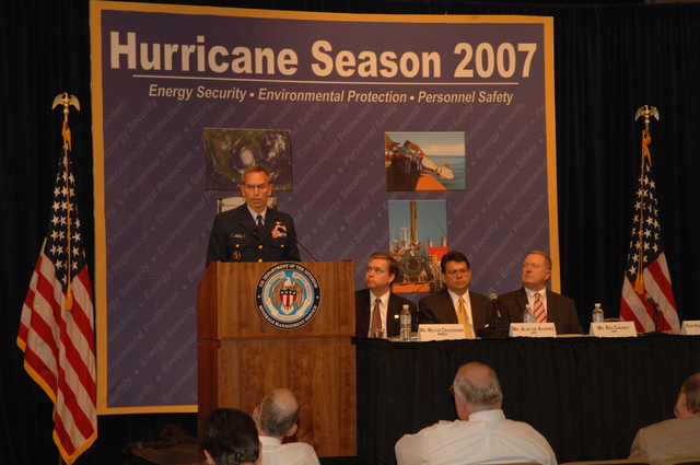 [Assignment: 48-DPA-K_MMS_Hurricane] Minerals Management Service (MMS)-sponsored briefing, [at Main Interior, on energy resource protection preparations for the] 2007 hurricane season, [with presentations by MMS Deputy Director Walter Cruickshank, Department of Energy's Director of Energy Assurance Alex de Alvarez, American Petroleum Institute President and Chief Executive Officer Red Cavaney, and Coast Guard Rear Admiral Wayne Justice, Assistant Commandant for Capability and Director of Response Policy at Coast Guard Headquarters] [48-DPA-K_MMS_Hurricane_DOI_4199.JPG]