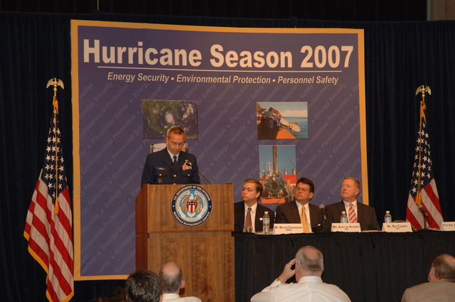 [Assignment: 48-DPA-K_MMS_Hurricane] Minerals Management Service (MMS)-sponsored briefing, [at Main Interior, on energy resource protection preparations for the] 2007 hurricane season, [with presentations by MMS Deputy Director Walter Cruickshank, Department of Energy's Director of Energy Assurance Alex de Alvarez, American Petroleum Institute President and Chief Executive Officer Red Cavaney, and Coast Guard Rear Admiral Wayne Justice, Assistant Commandant for Capability and Director of Response Policy at Coast Guard Headquarters] [48-DPA-K_MMS_Hurricane_DOI_4196.JPG]