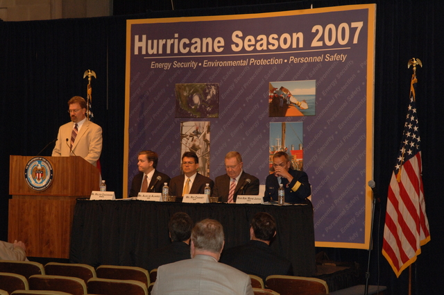 [Assignment: 48-DPA-K_MMS_Hurricane] Minerals Management Service (MMS)-sponsored briefing, [at Main Interior, on energy resource protection preparations for the] 2007 hurricane season, [with presentations by MMS Deputy Director Walter Cruickshank, Department of Energy's Director of Energy Assurance Alex de Alvarez, American Petroleum Institute President and Chief Executive Officer Red Cavaney, and Coast Guard Rear Admiral Wayne Justice, Assistant Commandant for Capability and Director of Response Policy at Coast Guard Headquarters] [48-DPA-K_MMS_Hurricane_DOI_4158.JPG]