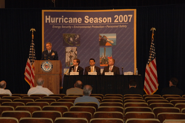 [Assignment: 48-DPA-K_MMS_Hurricane] Minerals Management Service (MMS)-sponsored briefing, [at Main Interior, on energy resource protection preparations for the] 2007 hurricane season, [with presentations by MMS Deputy Director Walter Cruickshank, Department of Energy's Director of Energy Assurance Alex de Alvarez, American Petroleum Institute President and Chief Executive Officer Red Cavaney, and Coast Guard Rear Admiral Wayne Justice, Assistant Commandant for Capability and Director of Response Policy at Coast Guard Headquarters] [48-DPA-K_MMS_Hurricane_DOI_4201.JPG]