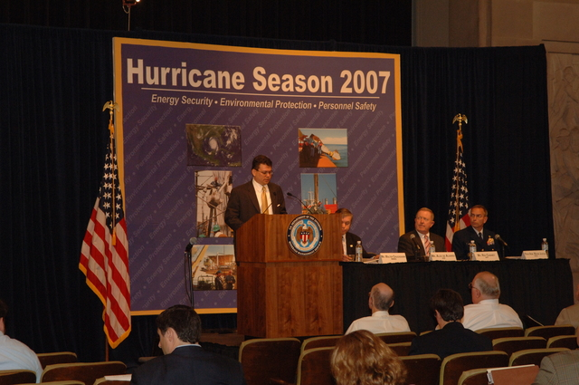 [Assignment: 48-DPA-K_MMS_Hurricane] Minerals Management Service (MMS)-sponsored briefing, [at Main Interior, on energy resource protection preparations for the] 2007 hurricane season, [with presentations by MMS Deputy Director Walter Cruickshank, Department of Energy's Director of Energy Assurance Alex de Alvarez, American Petroleum Institute President and Chief Executive Officer Red Cavaney, and Coast Guard Rear Admiral Wayne Justice, Assistant Commandant for Capability and Director of Response Policy at Coast Guard Headquarters] [48-DPA-K_MMS_Hurricane_DOI_4172.JPG]