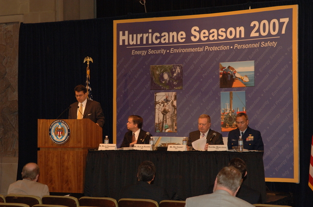 [Assignment: 48-DPA-K_MMS_Hurricane] Minerals Management Service (MMS)-sponsored briefing, [at Main Interior, on energy resource protection preparations for the] 2007 hurricane season, [with presentations by MMS Deputy Director Walter Cruickshank, Department of Energy's Director of Energy Assurance Alex de Alvarez, American Petroleum Institute President and Chief Executive Officer Red Cavaney, and Coast Guard Rear Admiral Wayne Justice, Assistant Commandant for Capability and Director of Response Policy at Coast Guard Headquarters] [48-DPA-K_MMS_Hurricane_DOI_4179.JPG]