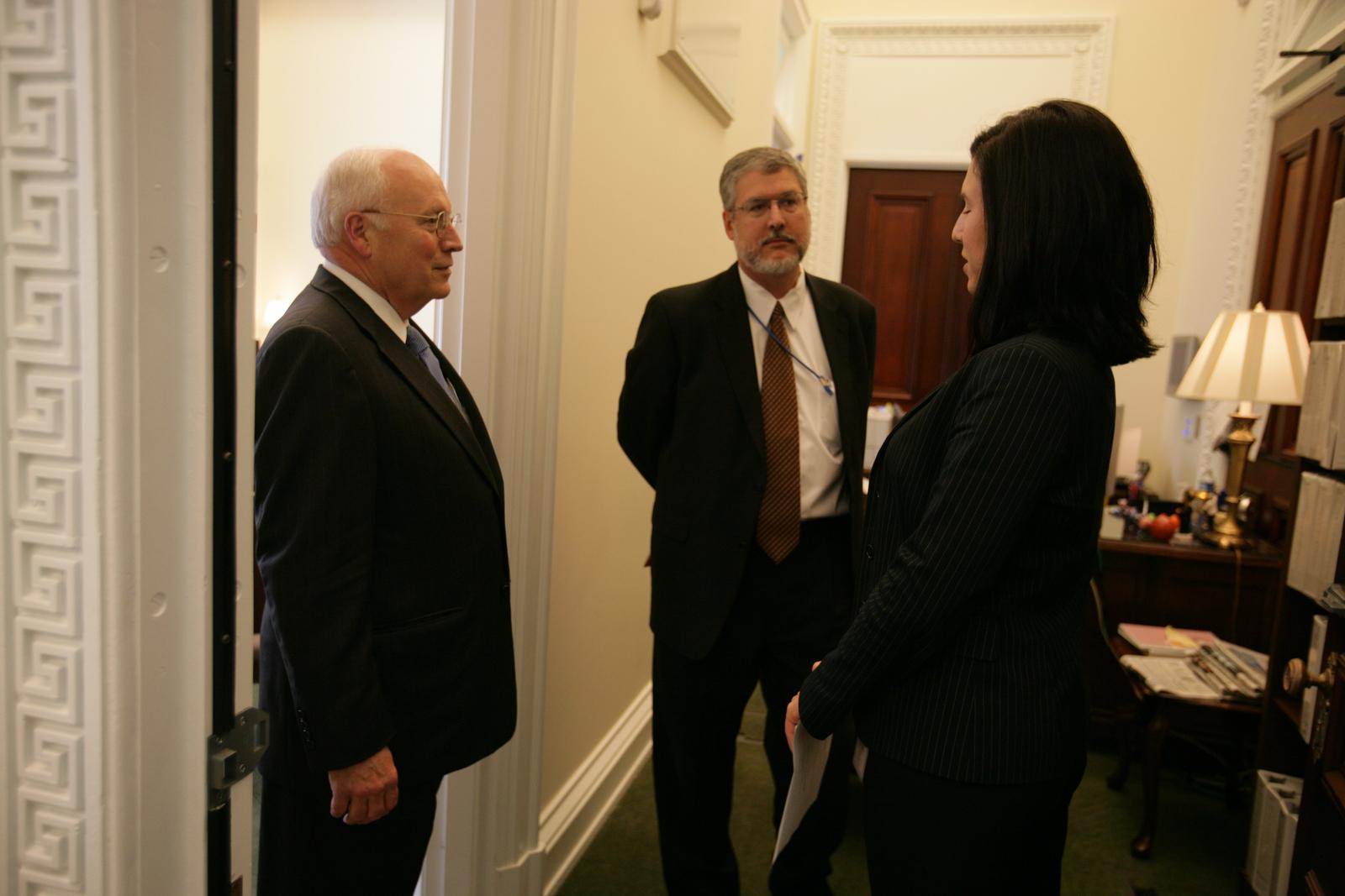 Vice President Cheney Talks with Elyssa Larranaga and David Addington