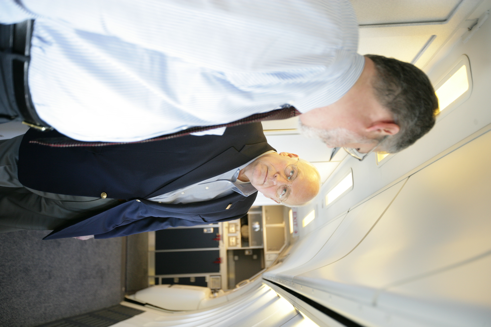 Vice President Cheney Talks with David Addington Aboard Air Force Two En Route to Jackson, Wyoming