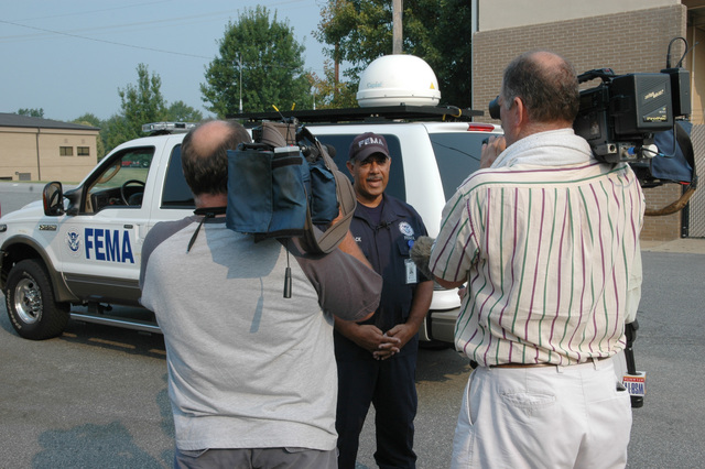 Marietta, GA, August 16, 2007 -- FEMA Federal Incident Response Support Team (FIRSTeam) leader Willie Womack speaks with the media before departing for Puerto Rico in anticipation of Hurricane Dean. The FIRST Team leads FEMA's initial response to disasters.  Mark Wolfe/FEMA
