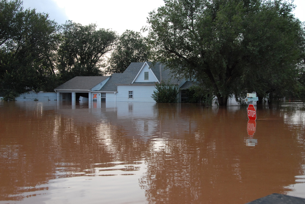 [Severe Storms, Tornadoes, and Flooding] Kingfisher, OK, August 19, 2007 -- Flood waters rose one foot every 30 minutes to flood this Kingfisher home and neighborhood.  FEMA has grants and other aid available to help flood victims recover under FEMA's Individual Assistance Program.  Marvin Nauman/FEMA photo