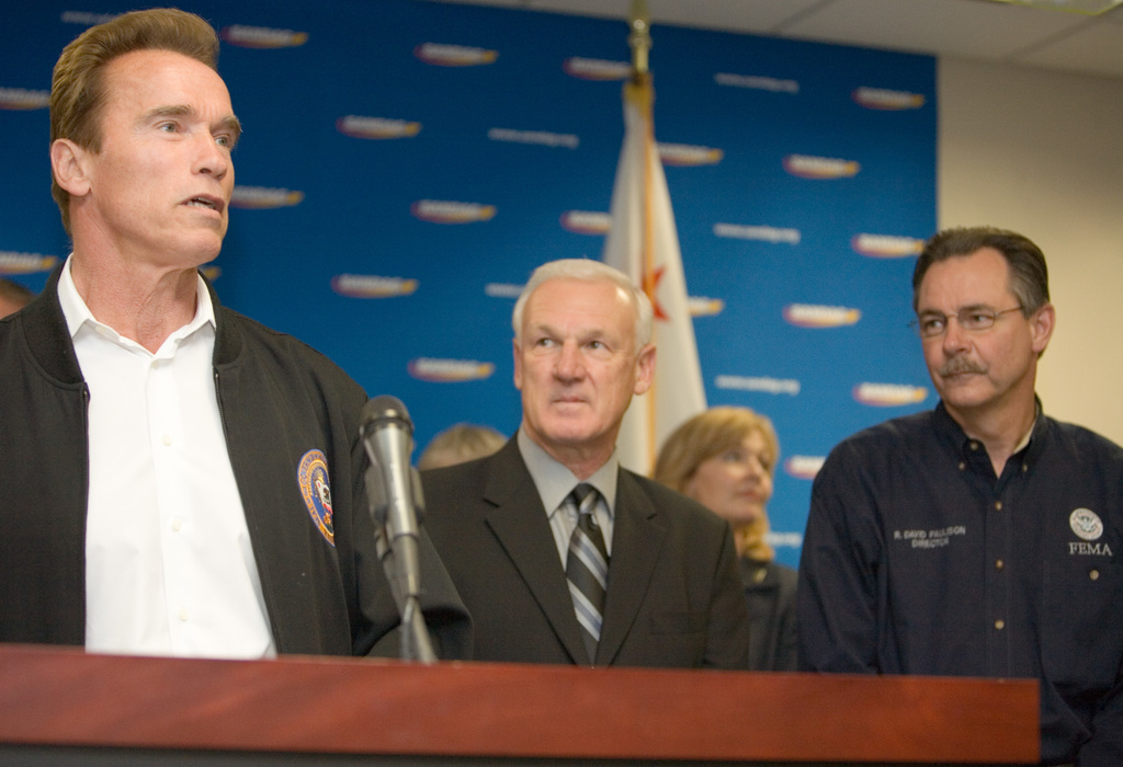 [Wildfires] San Diego, CA, October 30, 2007 -- California Governor, Arnold Schwarzenegger, San Diego Mayor, Jerry Sanders and FEMA Administrator, David Paulison address media at a press briefing in San Diego following the Southern California wildfires.  Andrea Booher/FEMA