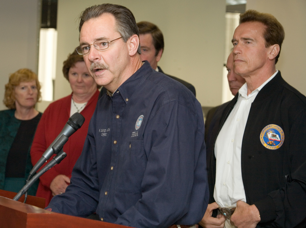 [Wildfires] San Diego, CA, October 30, 2007 -- FEMA Administrator, David Paulison and California Governor, Arnold Schwarzenegger address media at a press briefing in San Diego following the Southern California wildfires.  Andrea Booher/FEMA